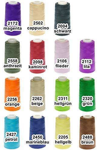 ABC 24 Rollen Qualitäts – Overlockgarn – 3000 Yards - freie Farbwahl aus 15 Farben - Overlock - Garn – reißfest