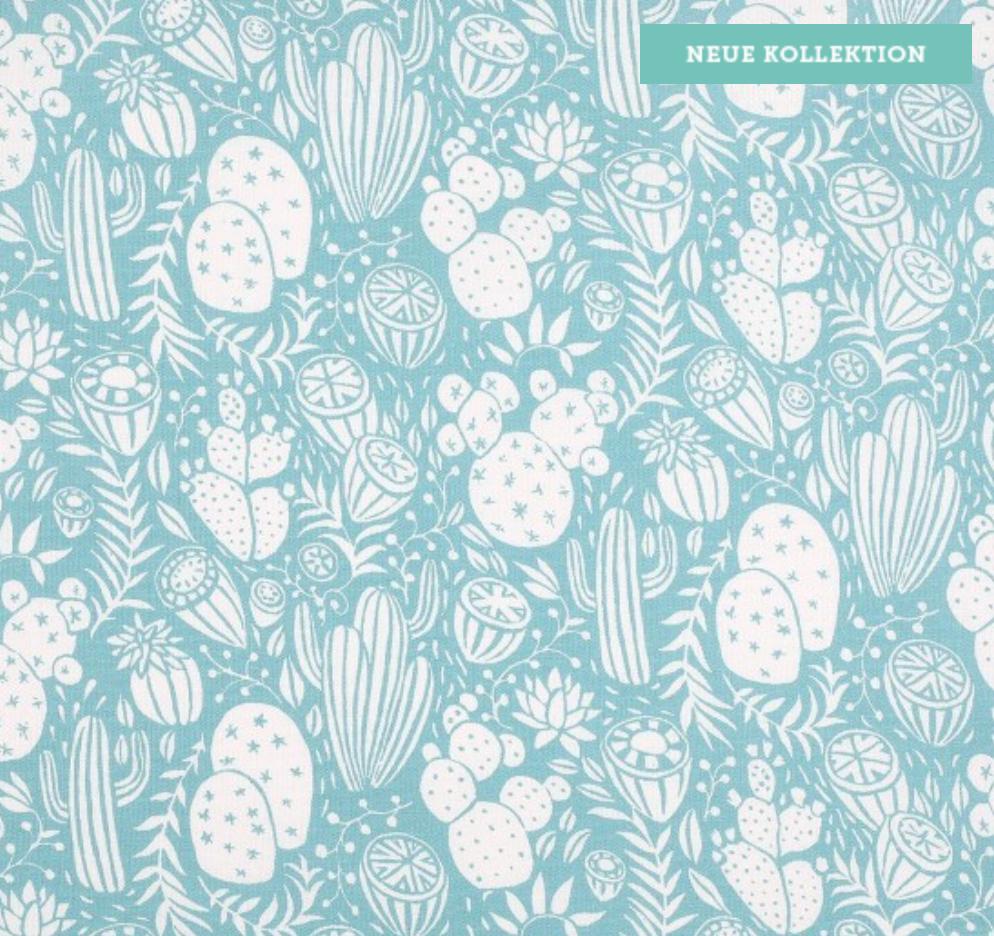 Beschichteter Baumwollstoff Cactus blau